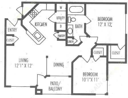 838 sq. ft. B1 floor plan