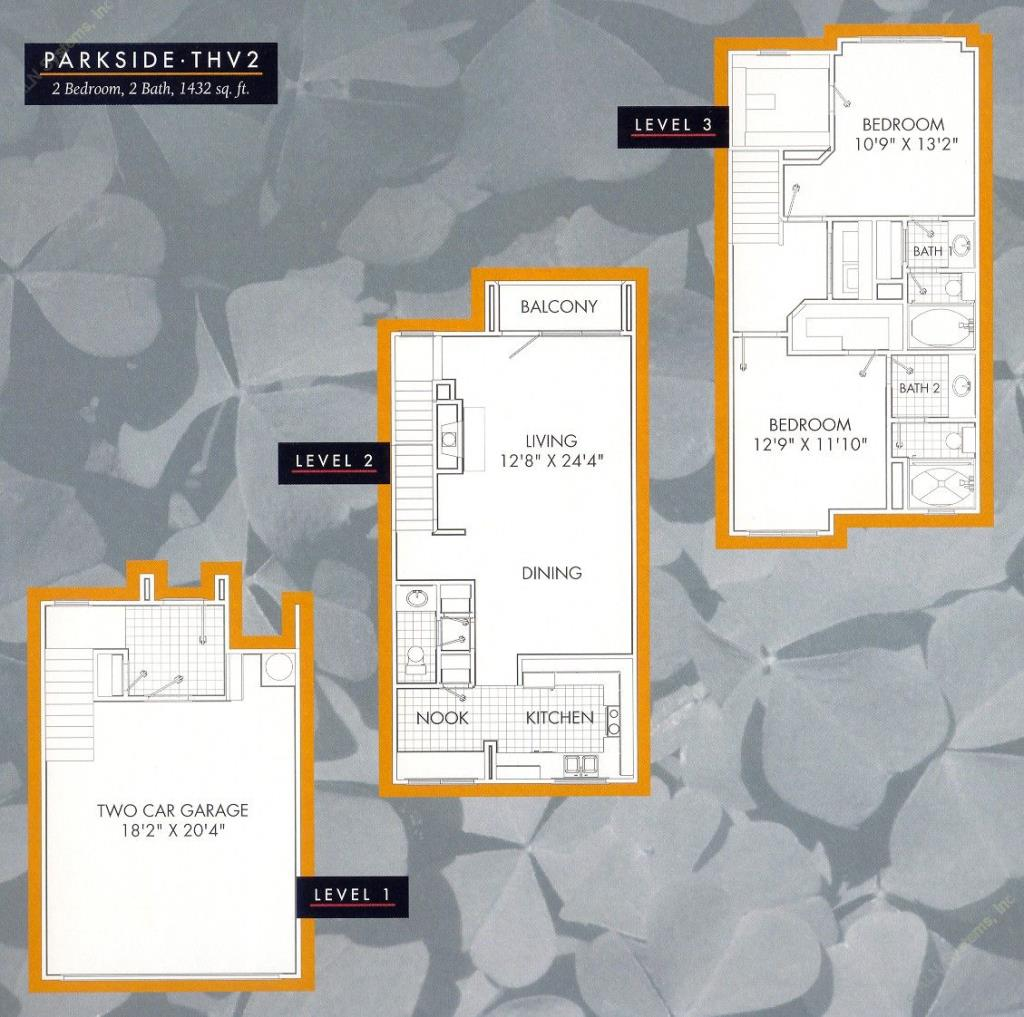 1,432 sq. ft. Parkside B2TH floor plan