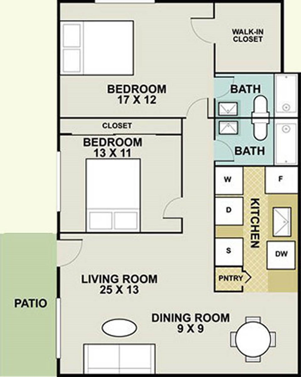 1,000 sq. ft. Delmarvel/Ph II floor plan
