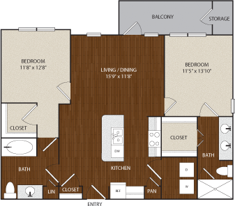 1,092 sq. ft. B2 floor plan
