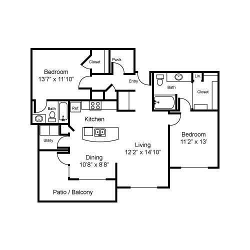 1,190 sq. ft. B4-I floor plan