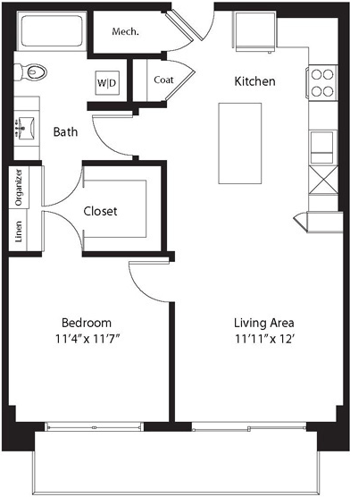 743 sq. ft. TA floor plan