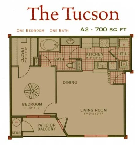 700 sq. ft. Tucson floor plan