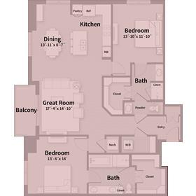 1,553 sq. ft. D3 floor plan