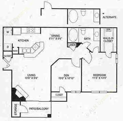 912 sq. ft. A4 floor plan