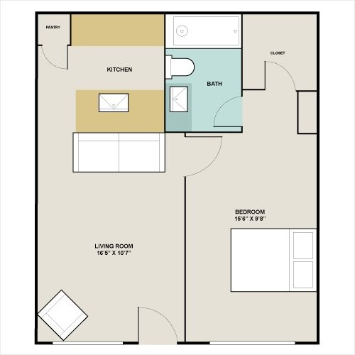 486 sq. ft. to 740 sq. ft. A1 floor plan