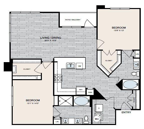 1,341 sq. ft. B3 floor plan