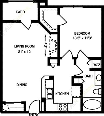 716 sq. ft. A2b floor plan