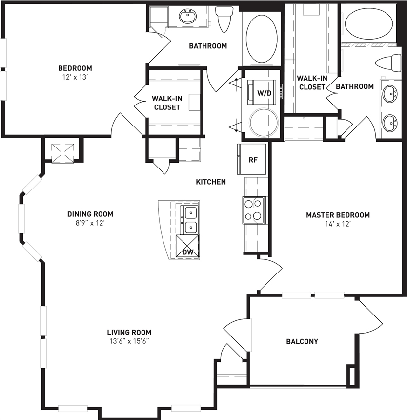 1,161 sq. ft. Sycamore floor plan