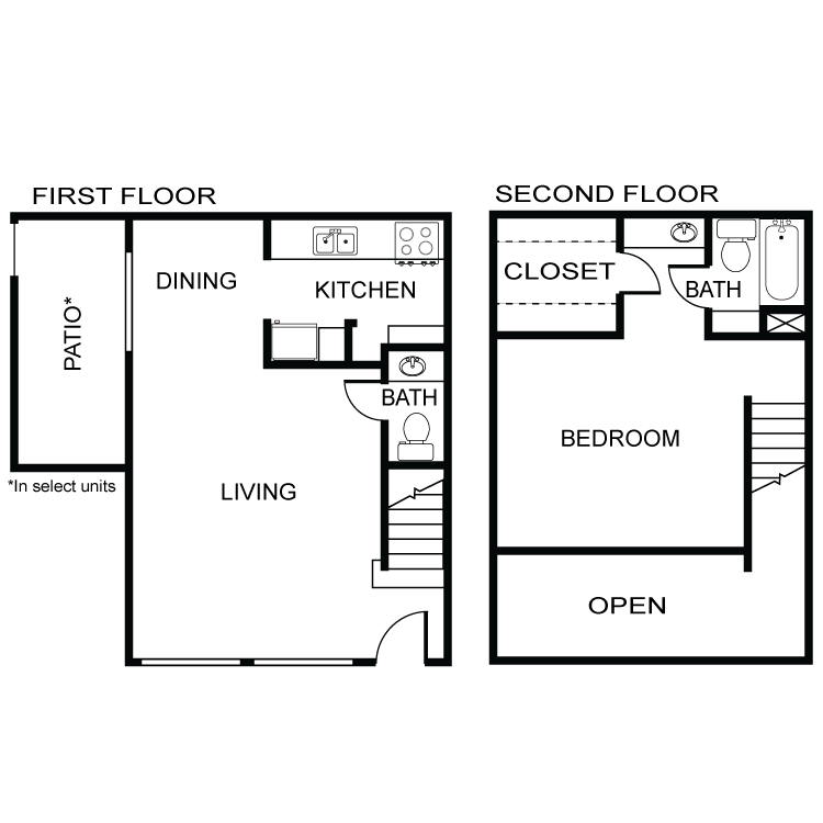 796 sq. ft. A2 floor plan