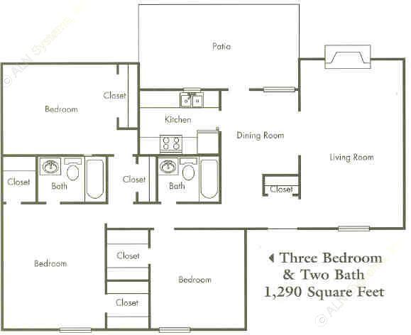 1,290 sq. ft. 50% floor plan