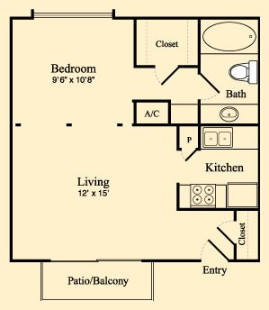 529 sq. ft. A floor plan