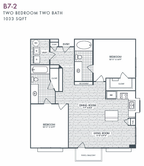 1,033 sq. ft. B7-2 floor plan