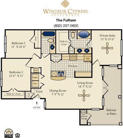1,225 sq. ft. Fulham floor plan