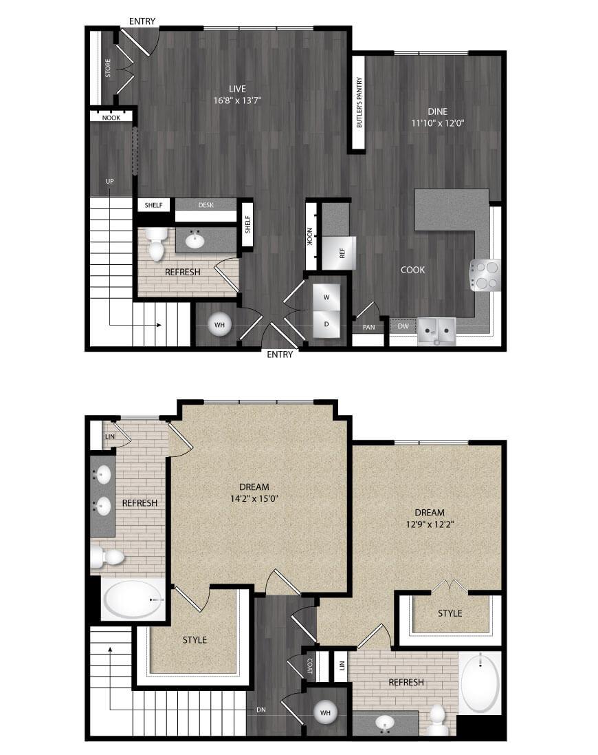 1,674 sq. ft. B4 floor plan