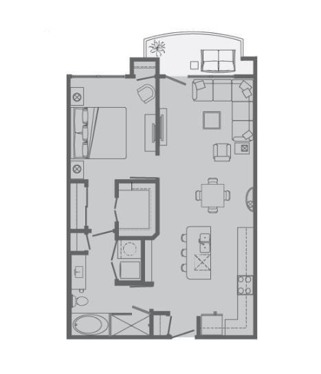 821 sq. ft. B1 floor plan