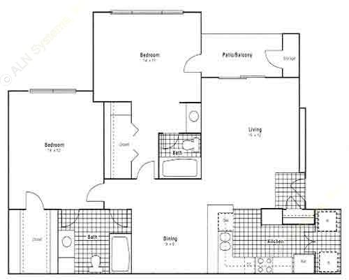 1,117 sq. ft. B2 floor plan
