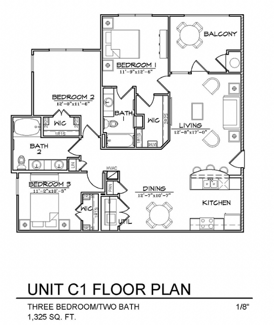1,325 sq. ft. C1 floor plan