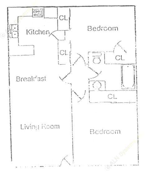 756 sq. ft. floor plan