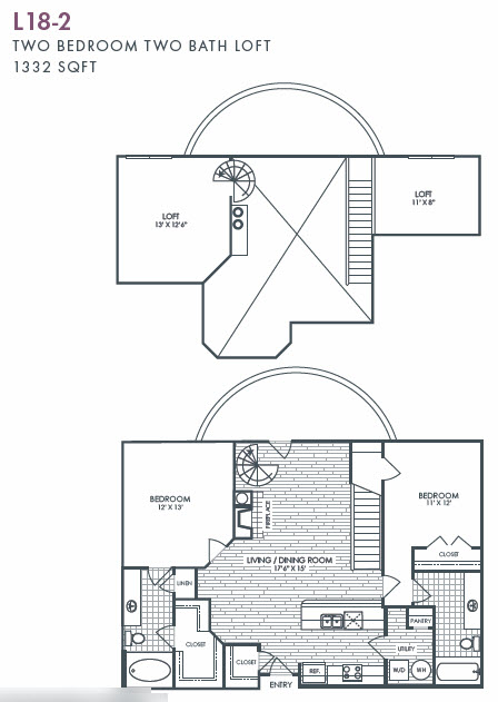 1,332 sq. ft. L18-2 floor plan