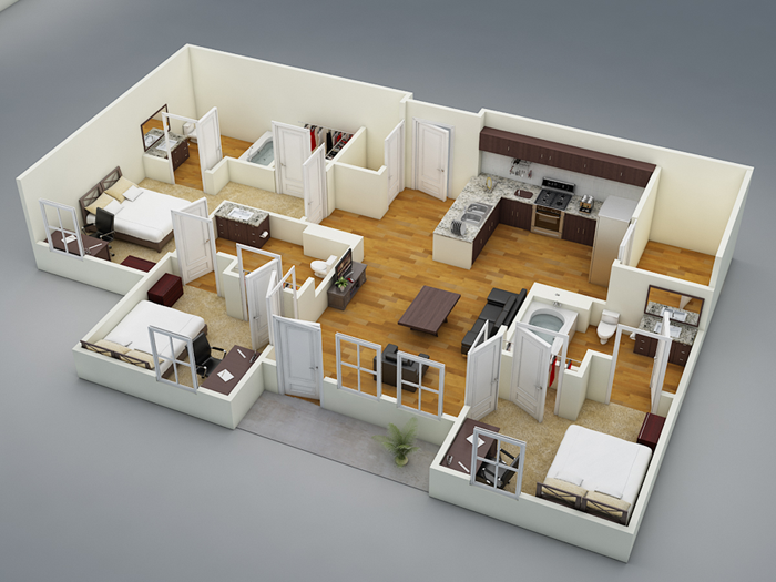 1,060 sq. ft. C1 floor plan