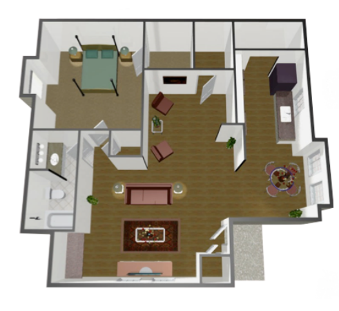 927 sq. ft. A2 floor plan