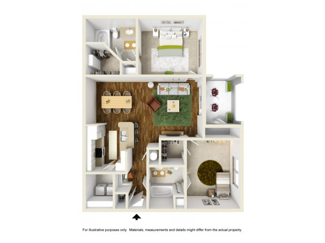 1,130 sq. ft. Hunt floor plan
