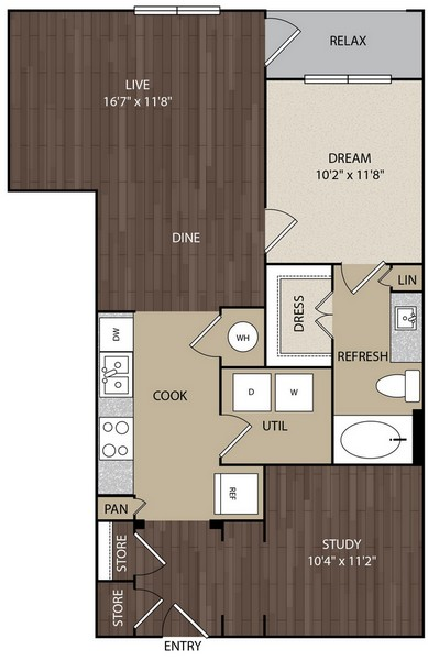 889 sq. ft. A7A floor plan