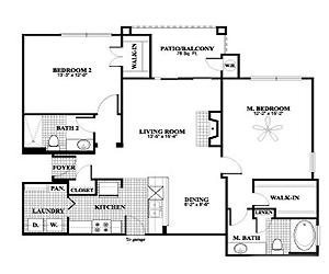 1,129 sq. ft. B1, ALT1 floor plan