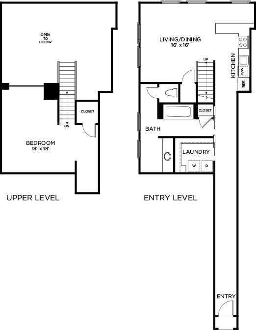 1,238 sq. ft. to 1,292 sq. ft. C2 - PH floor plan