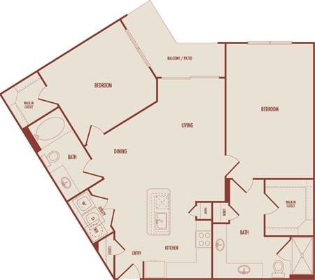 1,159 sq. ft. C3 floor plan