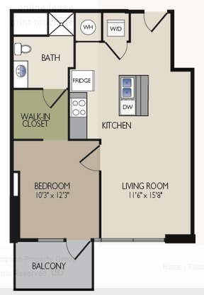 724 sq. ft. D2 floor plan