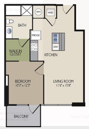 724 sq. ft. D2 floor plan