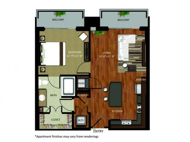 739 sq. ft. A4 floor plan