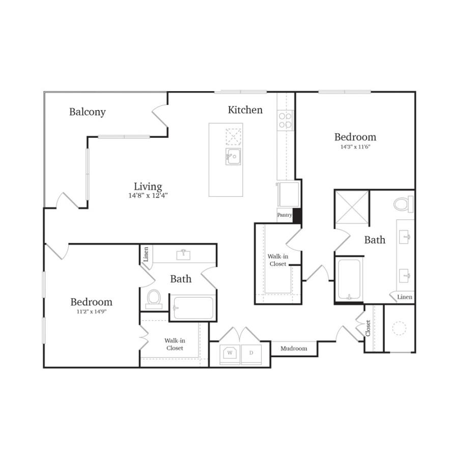 1,254 sq. ft. B4C floor plan