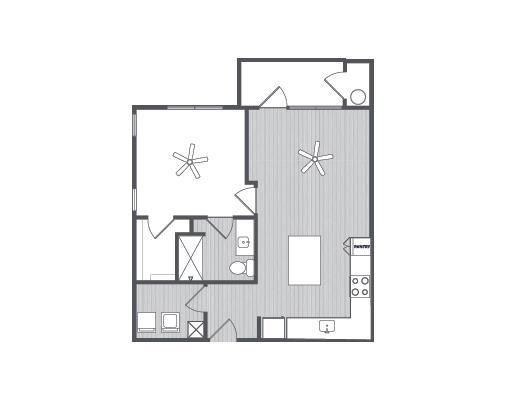 704 sq. ft. Amalfi floor plan
