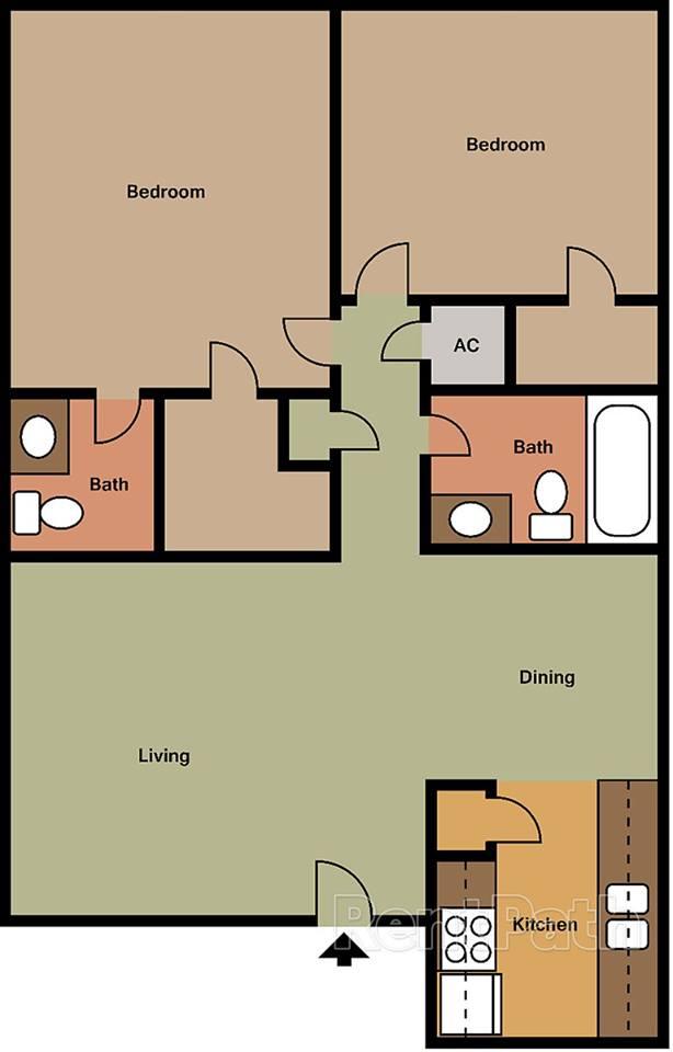 911 sq. ft. floor plan