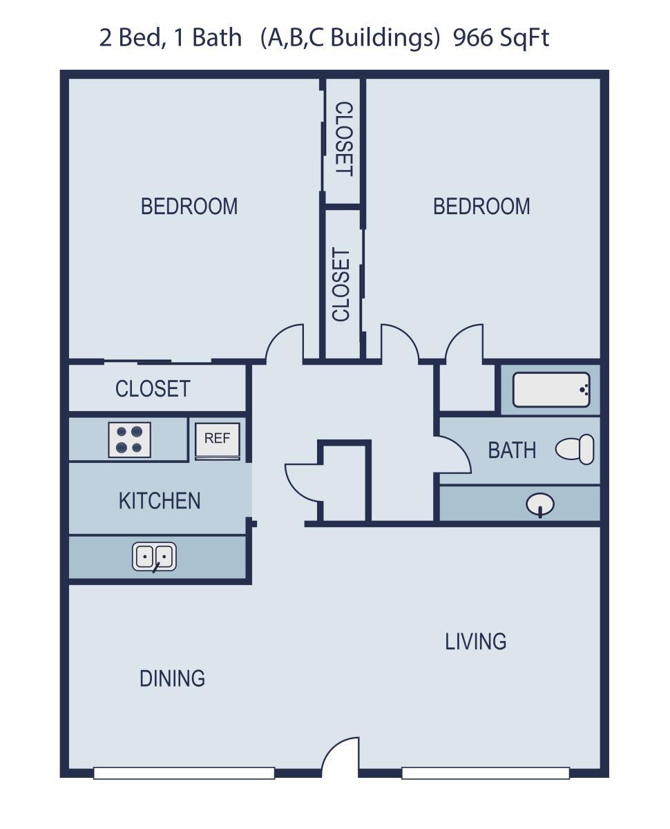 966 sq. ft. Monroe floor plan