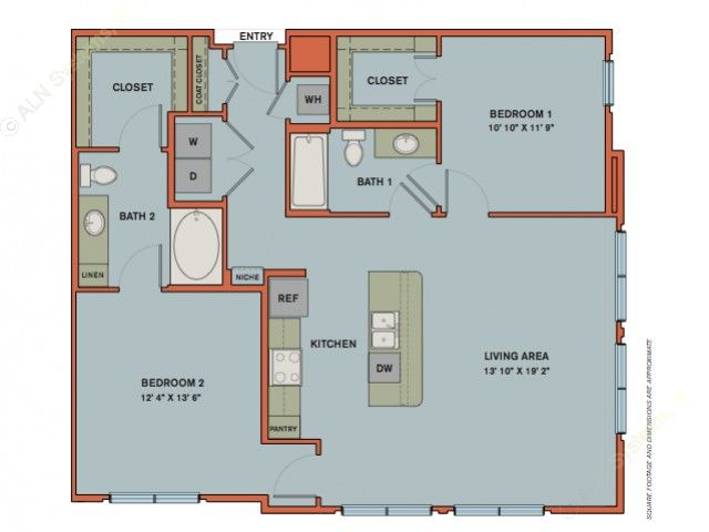 1,175 sq. ft. B3 floor plan