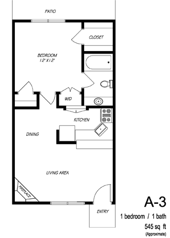 545 sq. ft. A3 floor plan