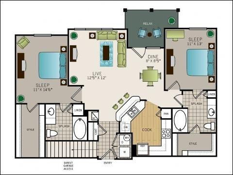 1,148 sq. ft. to 1,193 sq. ft. floor plan