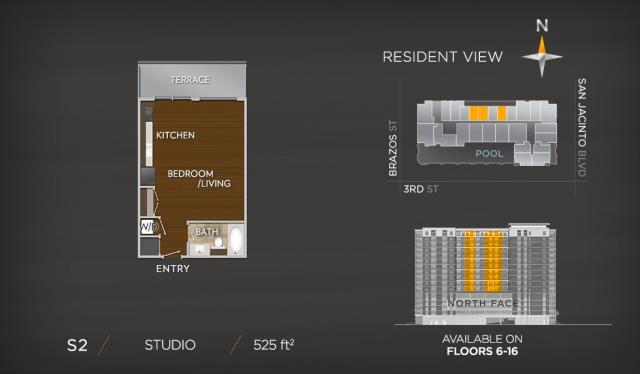 525 sq. ft. S2 floor plan