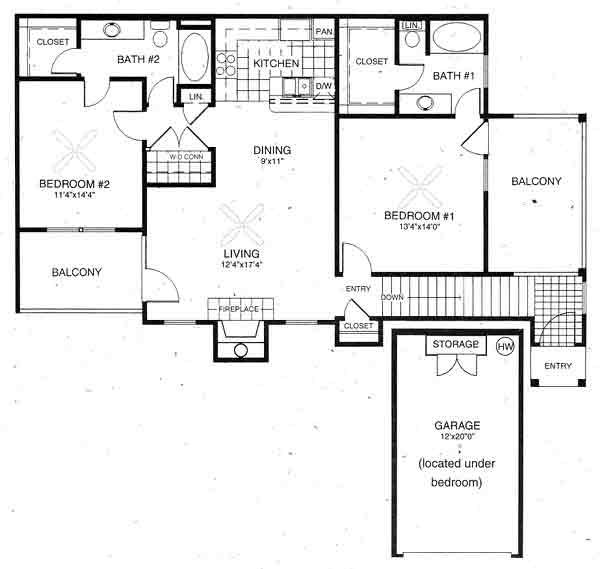 1,185 sq. ft. Windsor floor plan