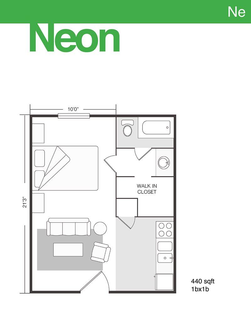440 sq. ft. Neon floor plan