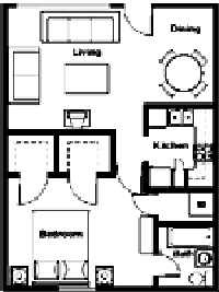 587 sq. ft. to 832 sq. ft. floor plan