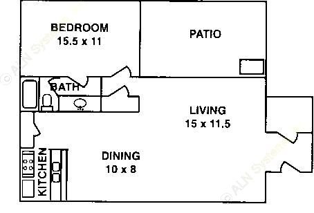 622 sq. ft. A-1C ABP floor plan