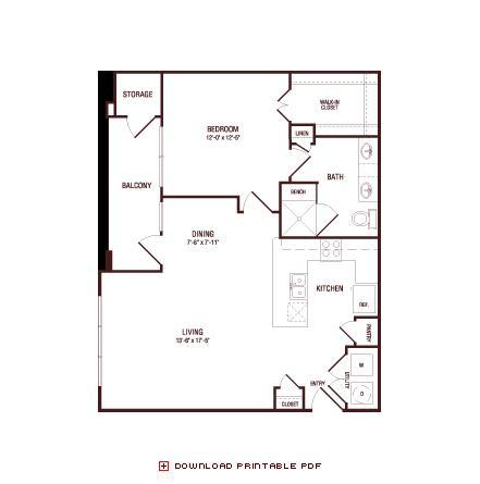 840 sq. ft. Post Oak floor plan
