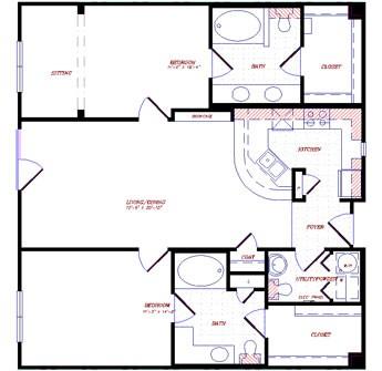 1,219 sq. ft. to 1,282 sq. ft. floor plan