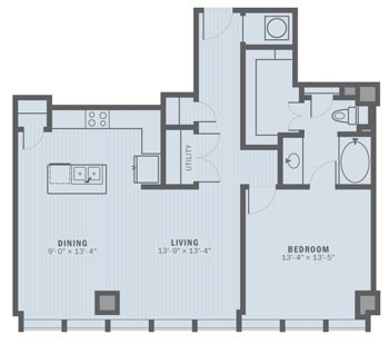 1,023 sq. ft. A3-35 floor plan