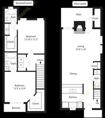 1,080 sq. ft. B5 floor plan